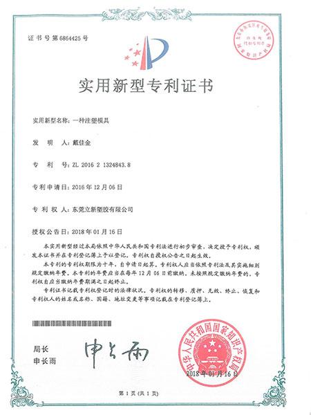 立新塑胶-注塑模具实用新型专利证书